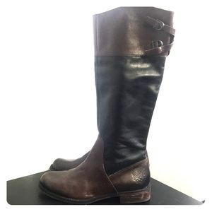 Vince Camuto black brown riding knee boots size 8